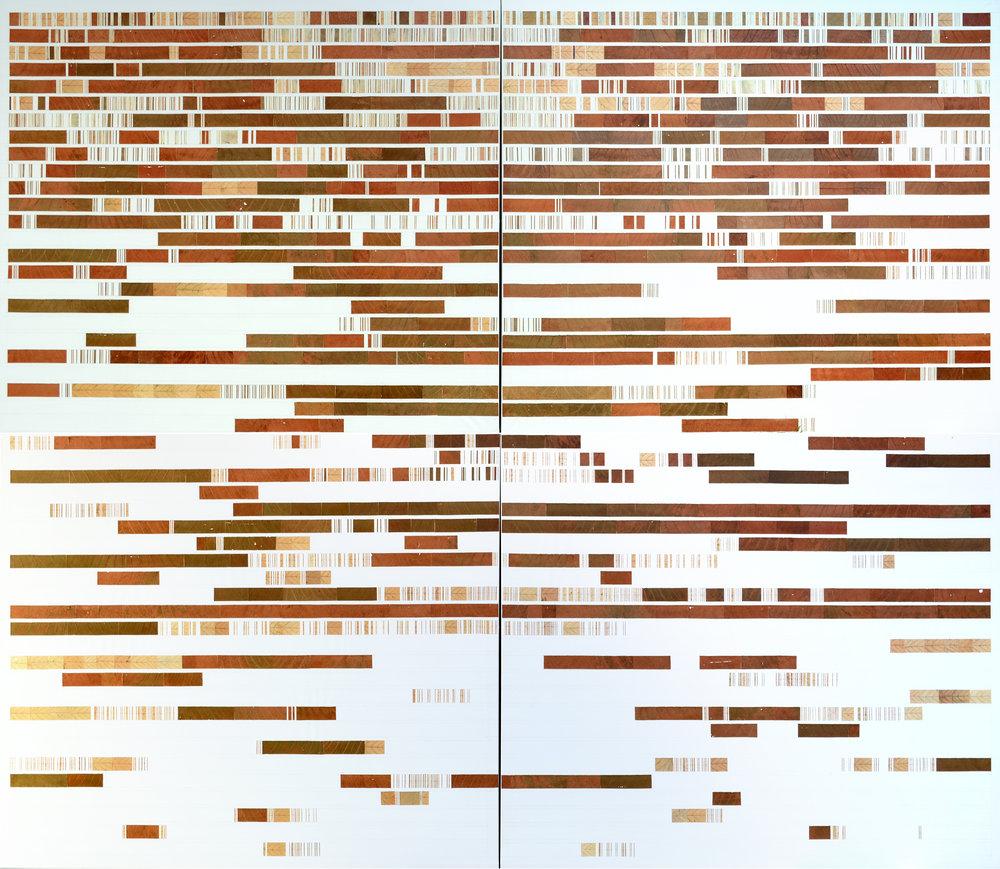 Fragmentation III, 2017, Leaves on Canvas