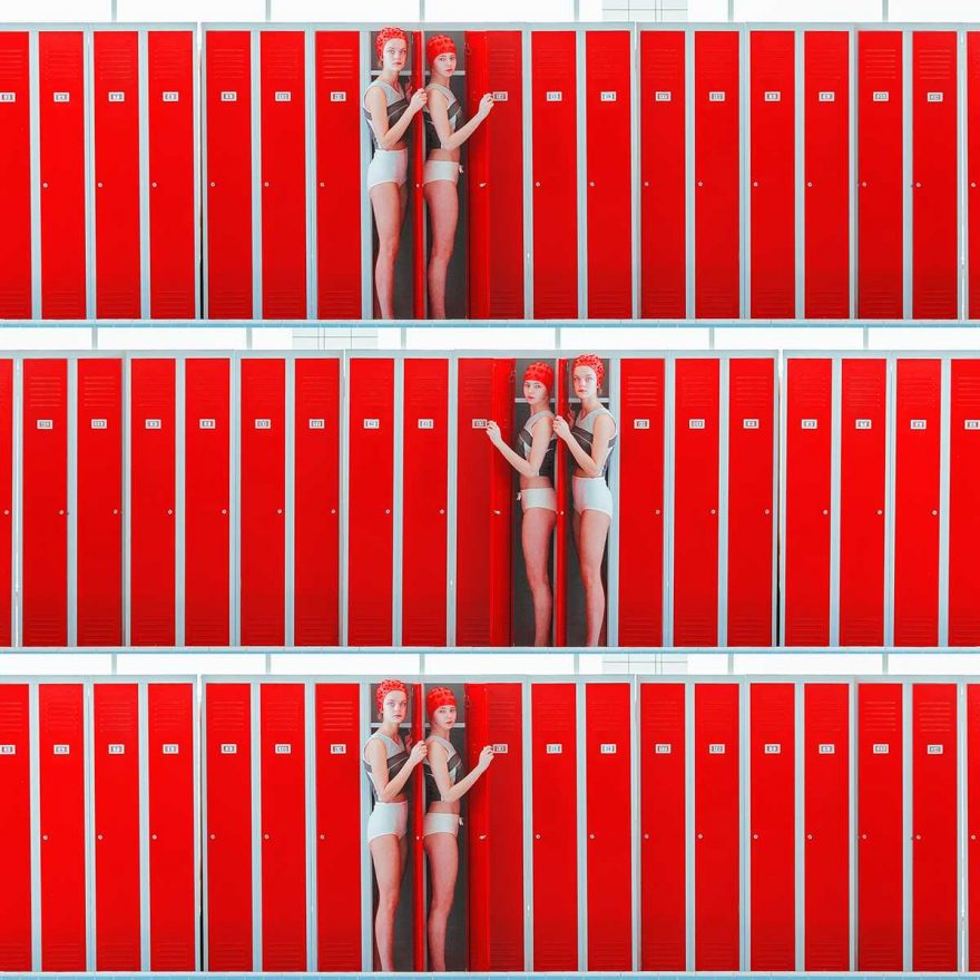Triple lockers, Archival Pigment Print, 70 x 70 cm (27 1/2 x 27 1/2 in)