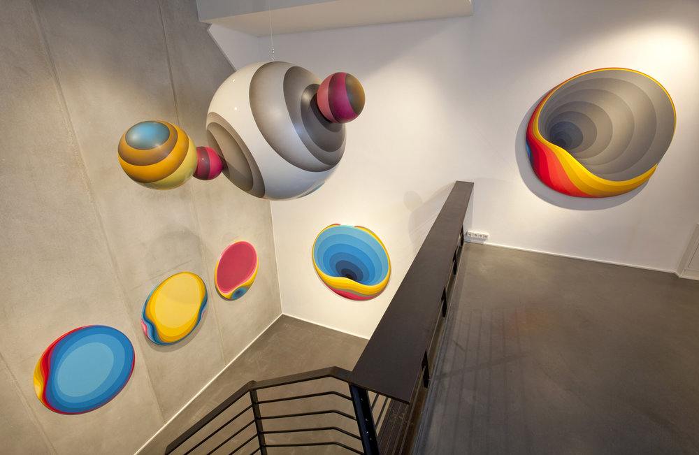 Private planets, 2015, Site Specific Installation, Car paint on Resin,  100 x 100 x 180 cm Sold