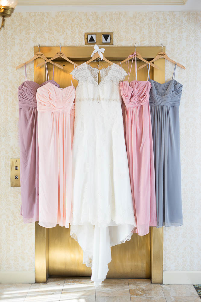 A photograph of the bride and bridesmaid's dresses.