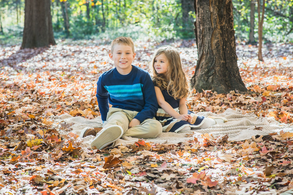 Children pose during their family portrait mini session in Forest Park.
