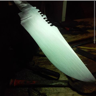 This is what the blade should look like at the end of the first grit