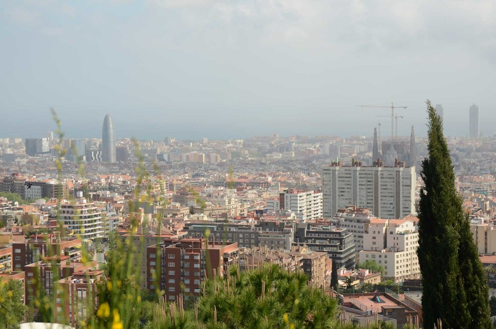2012 — View of Barcelona looking toward the Sagrada Familia and the port