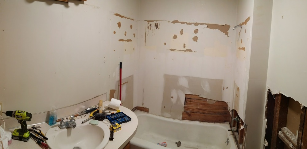 "It all started with noticing some mold growing behind the toilet tank (which was touching the wall - a 12"" toilet sitting on a 10"" rough-in)"