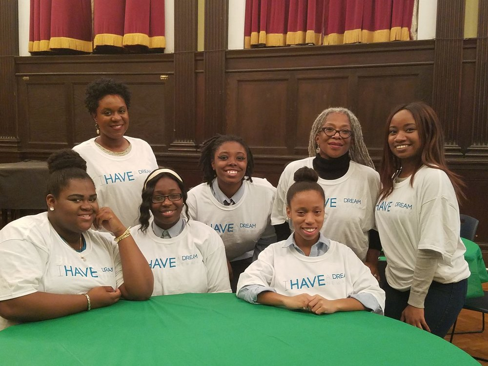 From the top right: Board member Tish Johnson, Dreamer Tia Grant-Lasenberry, Executive Director Yolanda Gadson, Program Assistant Danique Robinson, Dreamer Tatyana Dennis, Dreamer Hannah Olaniyi, and Dreamer Zaria Taylor.