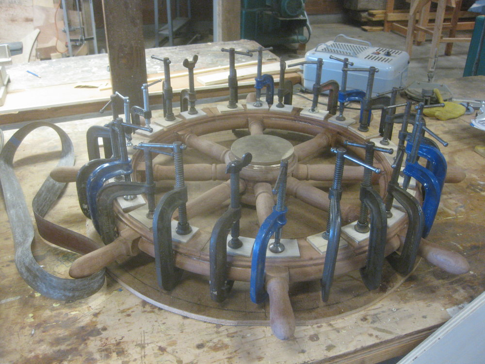 Bill has been working on a replica ship's wheel for the AVALON wheelhouse. Many fussy angles and arcs required in this project!