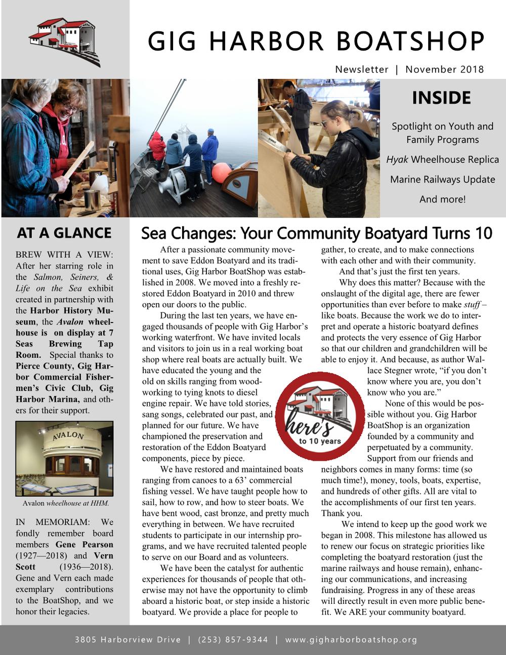 November 2018 newsletter (click on image to enlarge)