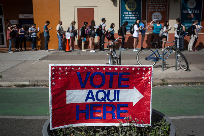 Voters waiting last month to cast primary ballots in Austin, Tex. The Supreme Court's ruling on Monday upheld the status quo. Credit:  Tamir Kalifa/Associated Press