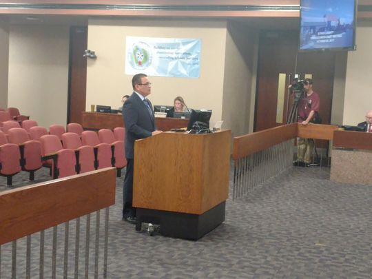 District Attorney Jaime Esparza presents the First Chance program to County Commissioners in October. The program was approved. (Photo: PHOTO BY MARIA CORTES GONZALEZ/EL PASO TIMES)