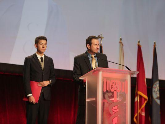 "Jose Montoya, right, and his son, Jose Alejandro ""Alex' Montoya, speak at the National Association of Drug Court Professionals Annual Training Conference.(Photo: Courtesy Jose Montoya)"