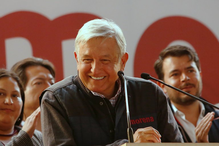 The Mexican presidential candidate Andrés Manuel López Obrador at a rally in Mexico City. Credit: Ginnette Riquelme/Reuters