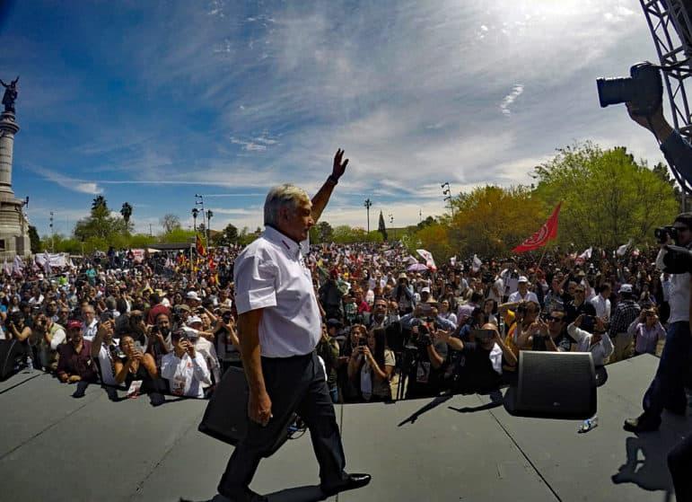 Mexican presidential frontrunner Andrés Manuel López Obrador in Ciudad Juárez.