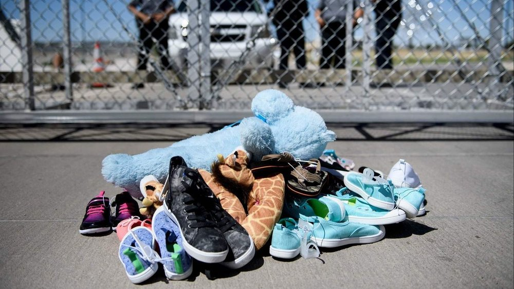 Shoes and toys left by migrants at the Tornillo Port of Entry in Tornillo, Texas. (Brendan Smialowski/ AFP/Getty Images)