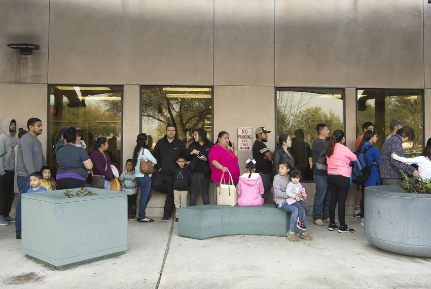Line at the Travis County District Clerk passport acceptance facility office on January 27, 2017.  Marjorie Kamys Cotera for The Texas Tribune