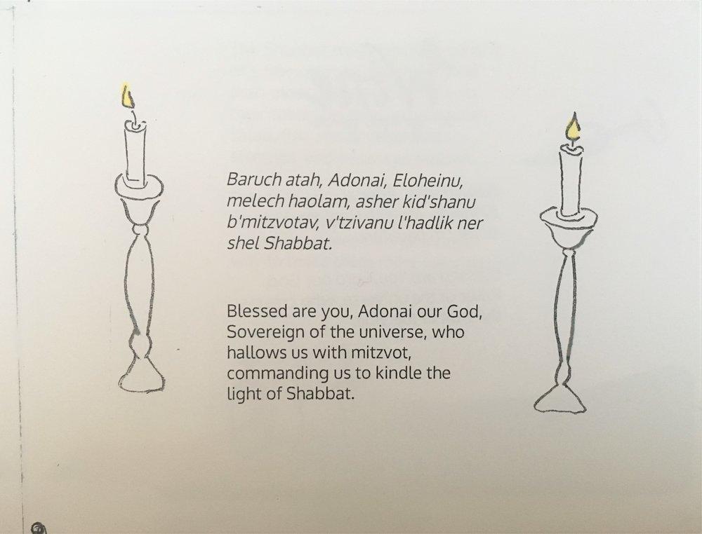 Shabbat Candle Prayers, inside image