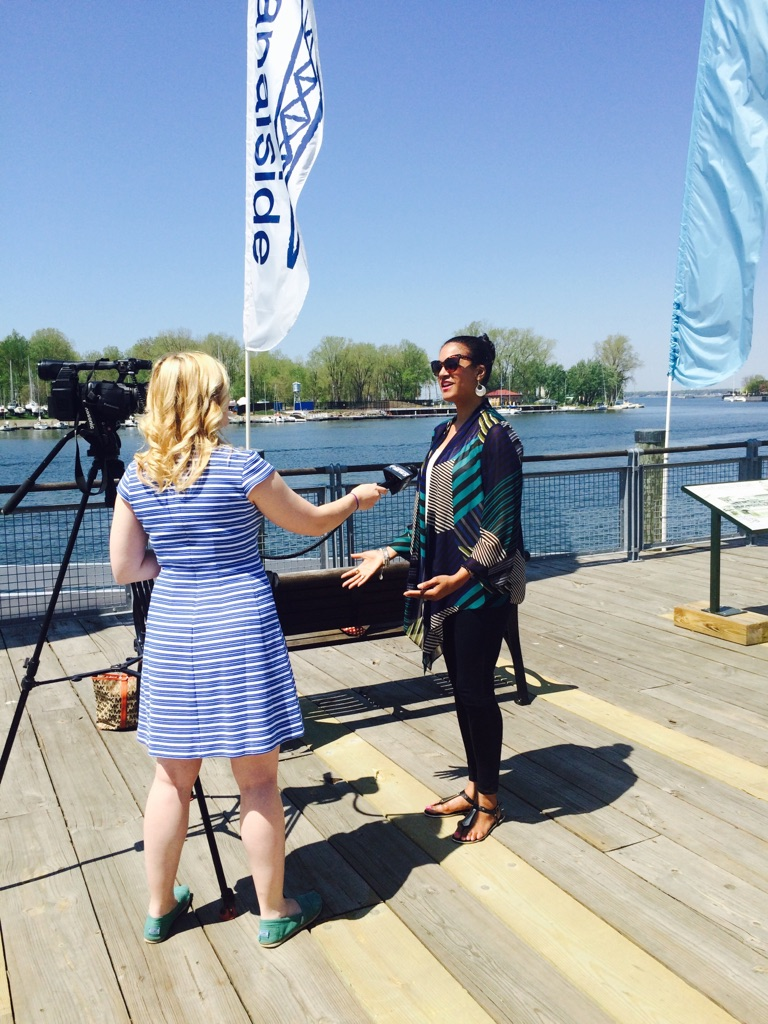 BUFFALO SKYWAY, ALISHA BEING INTERVIEWED BY A LOCAL NEWS STATIONS