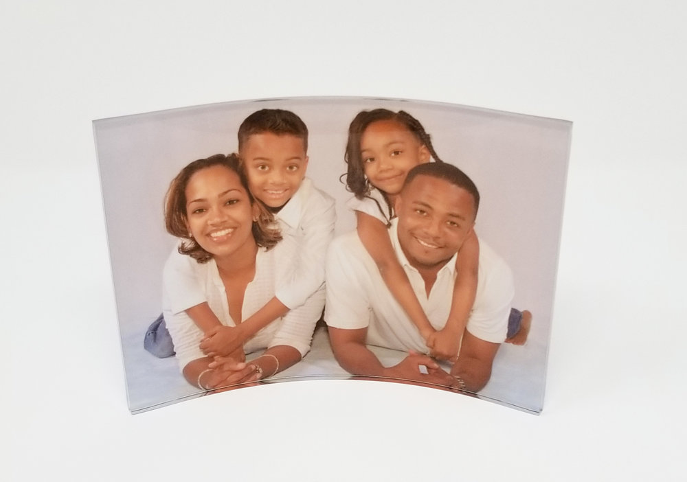 """Curved Clear Acrylic, 5"""" x 7"""" x .22"""" with Square Corners. Colors on this durable acrylic are vibrant and crisp. Light enhances the window effect and the image is beautiful from the front or back.  NOTE: Curved clear acrylic come in a variety of sizes. Contact us for more information."""