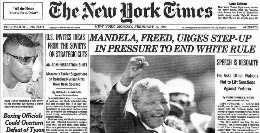The New York Times front page on the day of Nelson Mandela's release