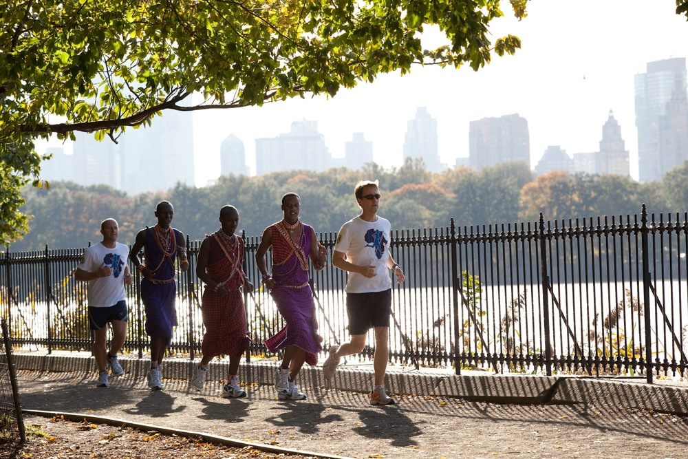 Norton and Maasai guides training for the NYC Marathon