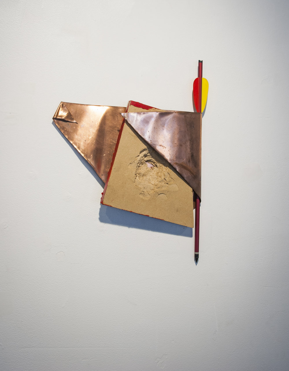 May Your Arrows Fly Straight and Your Aim Be True,  hammered wood, copper, oil paint, arrow