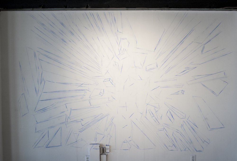 Shatter , chalk-line drawing