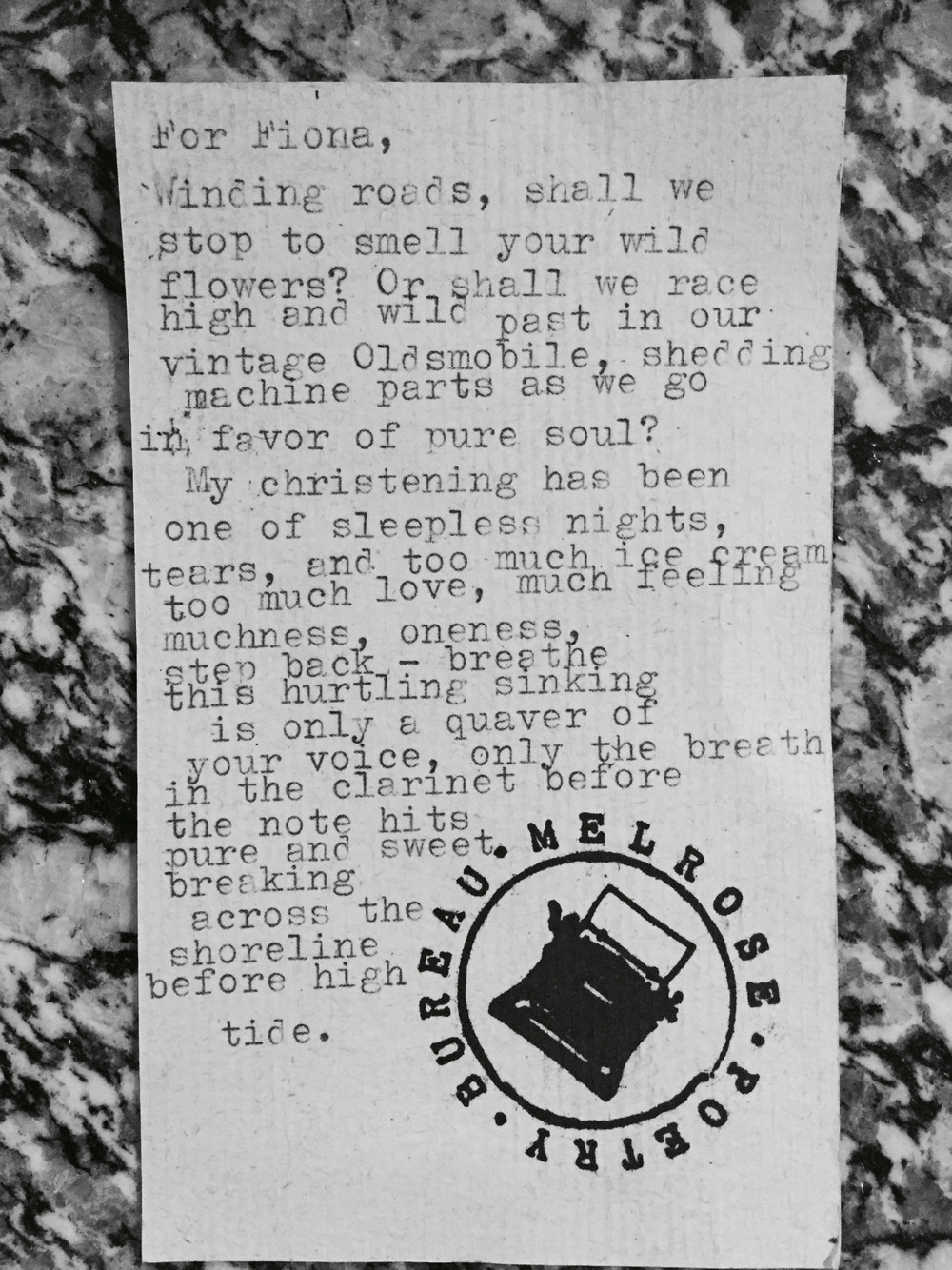"This beautiful poem really captures the state in which I am in. Life as an artist can be as fulfilling as it is frustrating. Luckily, I love what I do and will stop at nothing to fulfill my dreams but It's days like this where I have too much time to be in my head. I get caught up in sadness and anxiety. But I know all these ""sleepless nights"" will result in something beautiful. It will never be my childhood fantasy of happiness but it will be beautiful and I will be thankful for all I gave up to get there.      thank you melrose poetry for listening to me & writing this."