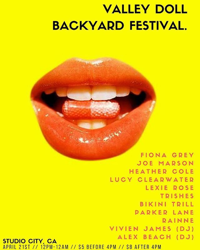 VALLEY DOLL FEST 💫 the kick off event is tomorrow 12pm-12am w/ tons of live music, burgers, drinks, photo booth & lovely people xx hope to see u there 💛💛💛💛 dm for secret address