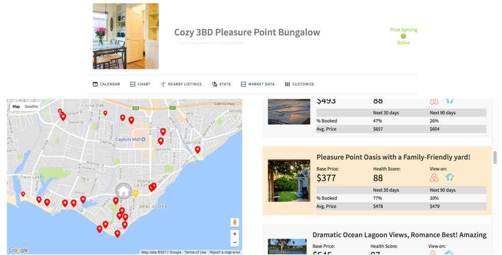 Existing Beyond Pricing users can find the new Nearby Listings tab available immediately for each of their listings  on their dashboard