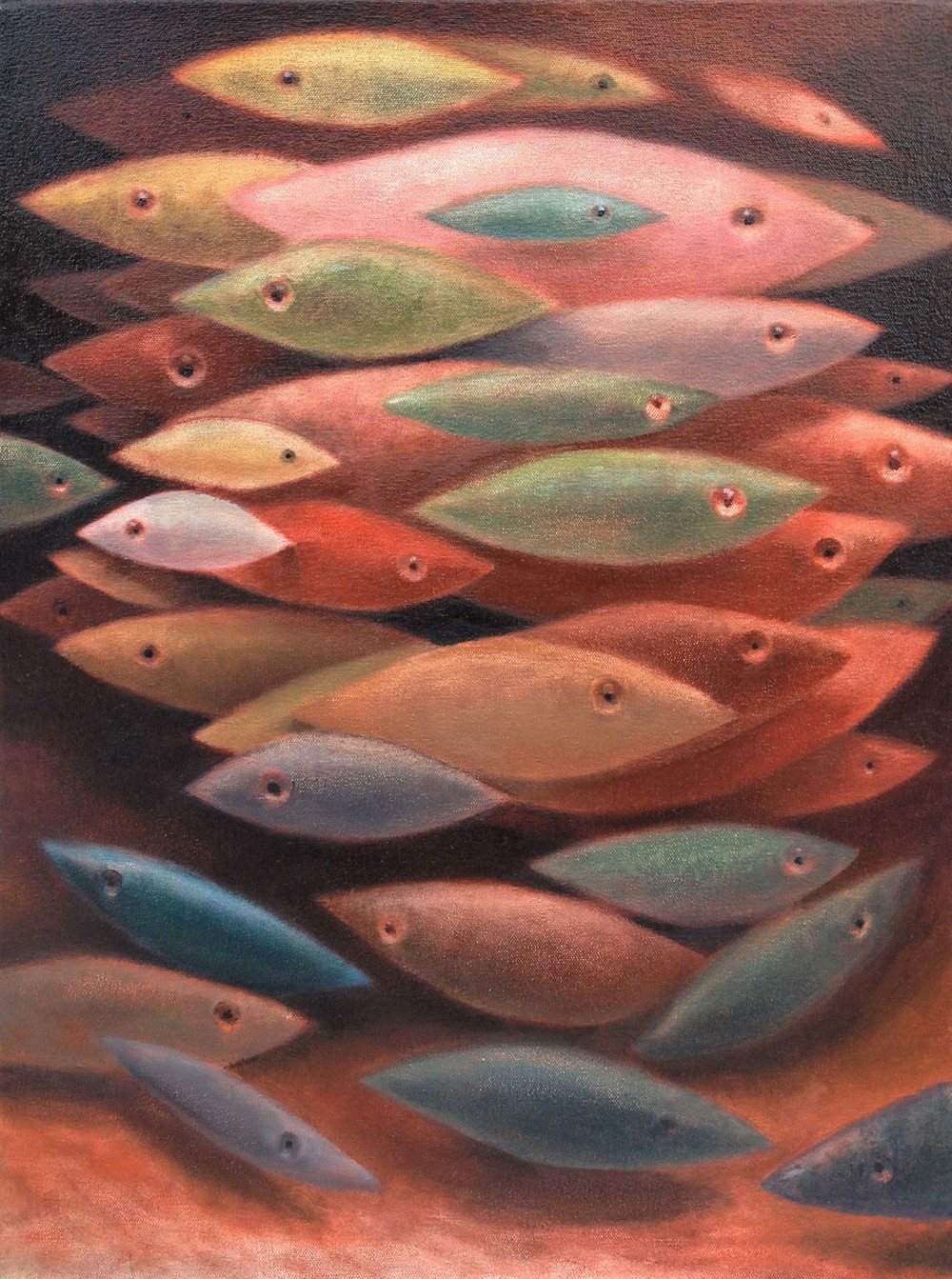 "RED RIVER, oil on canvas 30"" x 24"", 2015"