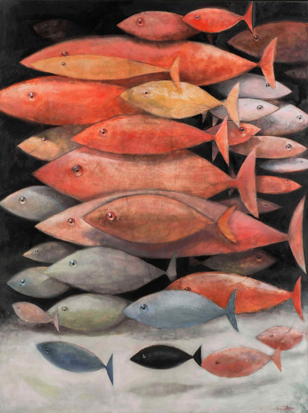 A SCHOOL OF MOSTLY RED FISH, oil on linen 48″ X 36″, 2014