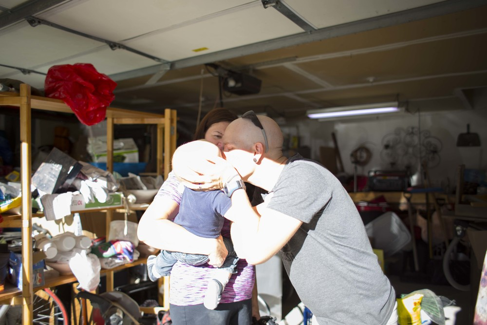 Nate kisses Solomon as he leaves with grandma for the afternoon