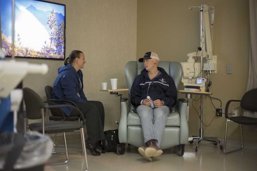 Sarah and Nate talk; some days they are at the cancer center for up to 6 hours.