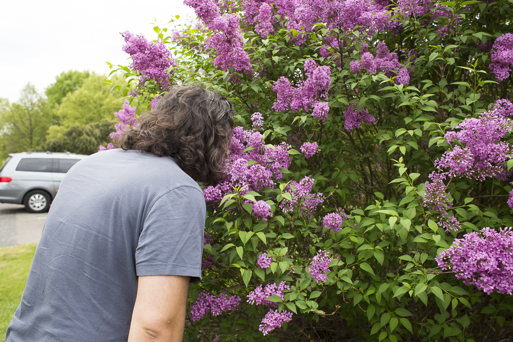 Mike takes in the sweet freshness of lilacs