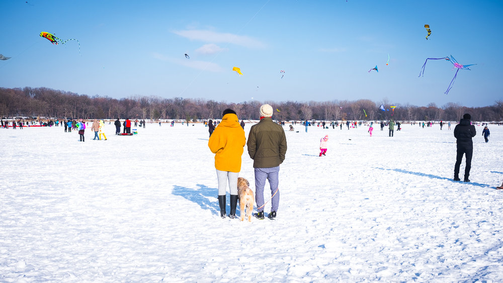 A couple takes in the activity at Lake Harriet Winter Kite Festival, Minneapolis, Minnesota