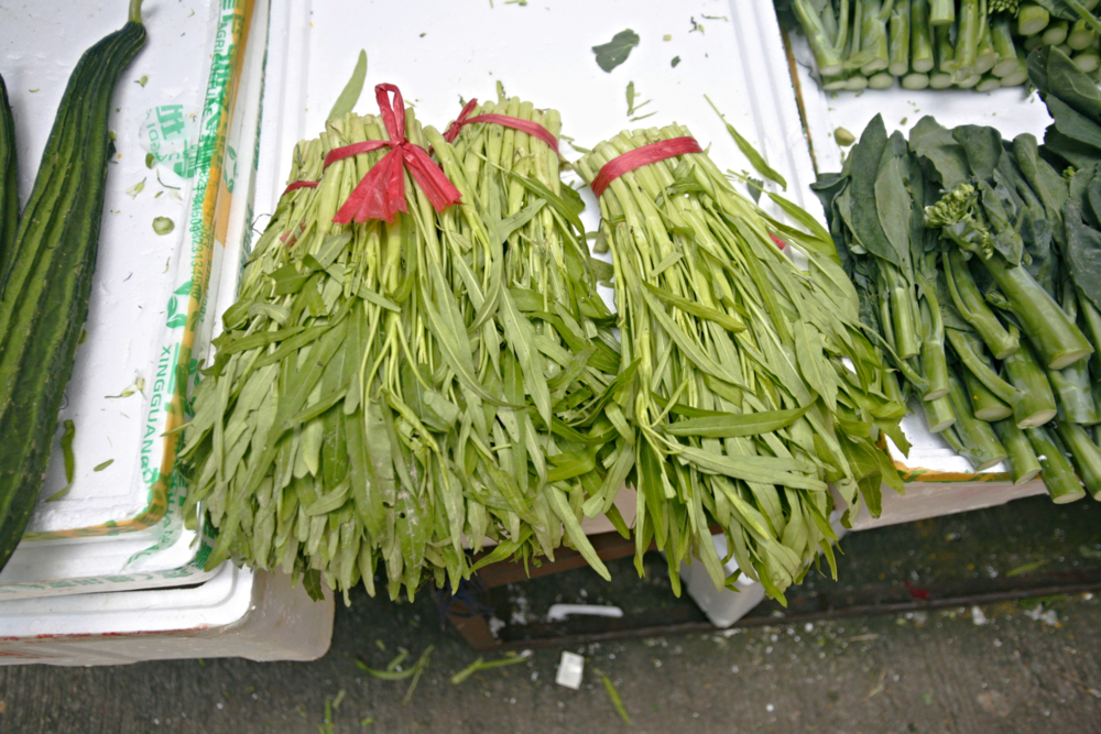 Fresh ong choy at the market