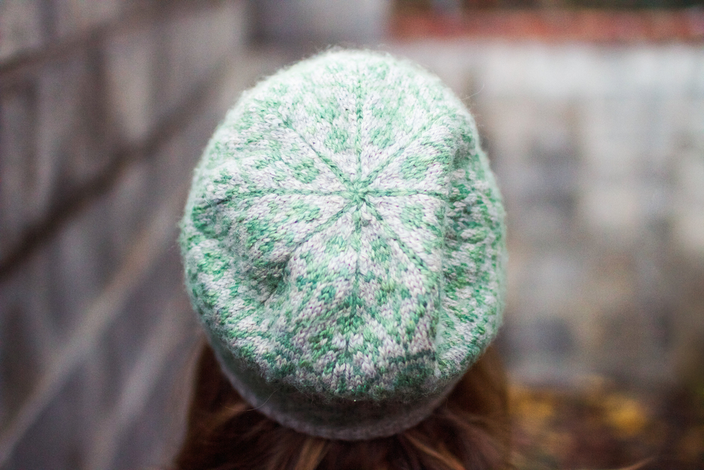 "Hat: ""Selbu Modern"" by Kate Gagnon Osborn. Yarn: The Fibre Company Road to China Light in ""Grey Pearl"" and ""Malachite."""