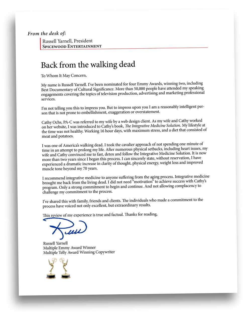 Back from the walking dead, endorsement letter of cathy ochs, pa-c, impaa, redding integrative medicine
