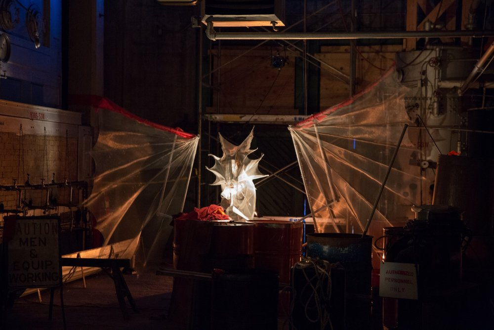 WE REMAIN PREPARED, Georgetown Steam Plant, 2016, puppetry and spectacle design by Lacy K Campbell, photo by Alex Garland