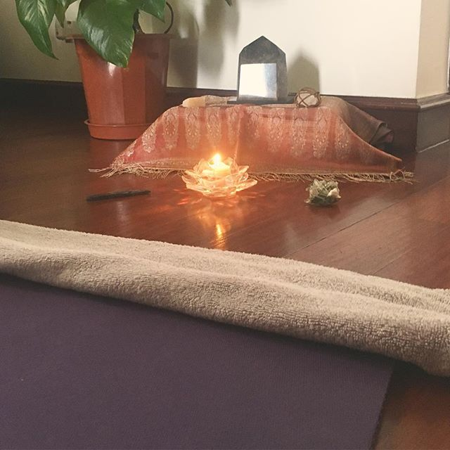 #Namaste ✨☺️ Creating #yoga space or Me. #mefirst #selfcare is #sacred #alter #crystals #elements #nature #retreat #selflove #holistic #nutrition #balance #harmonise