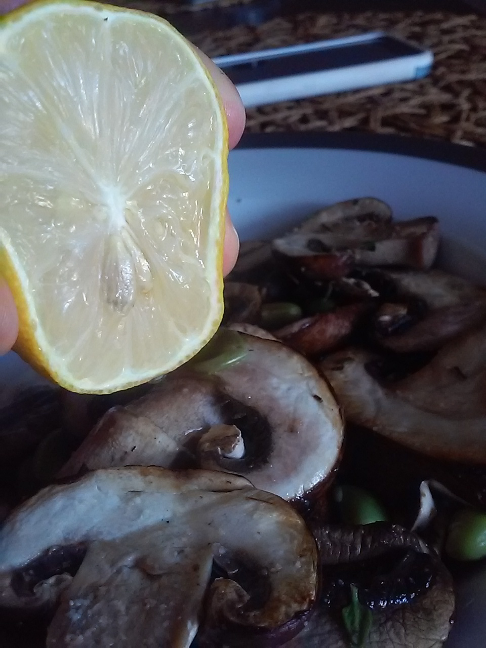 Fresh herbs and mushrooms dressed with lemon easy and healthy recipe