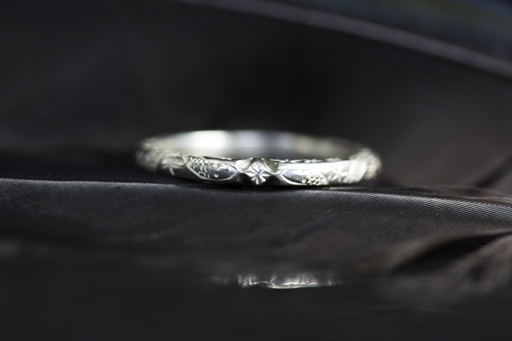 The delicate patterned  Serpens Constellation Ring in Sterling .