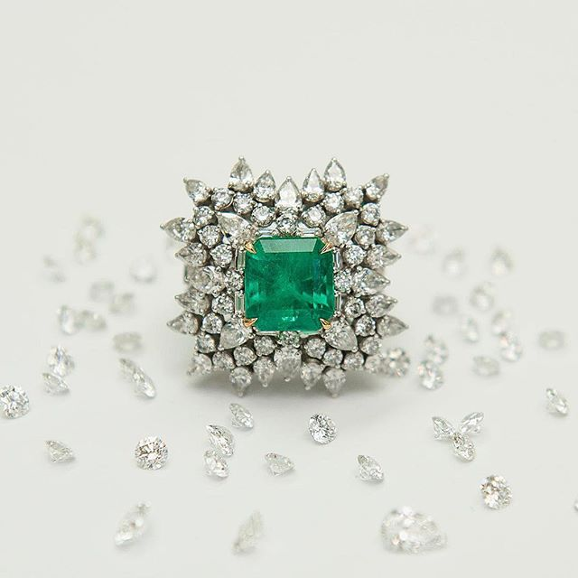 """His character is like an emerald - multifaceted and enhanced by inclusions."" Cocktail ring with Emerald and Diamonds 😍 . . #heritagecollectioninc  #emerald #emeraldring #jewelrydesignhouse #spotlight #romantic #masterpiece #luxurydesigns #luxurylifestyle #workofart #highjewelry #collection #diamonds #emeralds #workmanship #designer #master #newyork #palmbeach #miami #hamptons #london #redcapert #artdeco #newdeco #manhattan #janewyork #christmas #happyholidays"