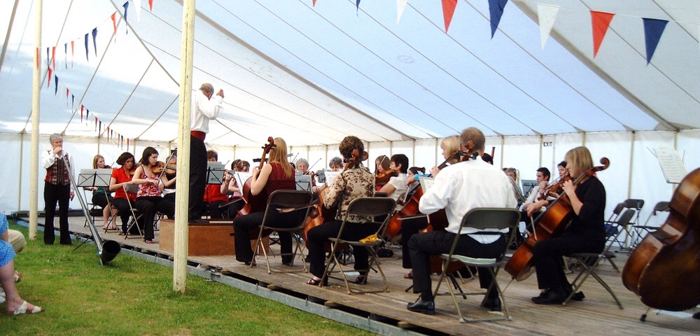Performing on a Sunny Summer afternoon at The Walled Garden, Basingstoke.