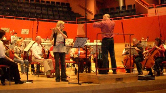 Rehearsing with guest soloist before a concert at The Anvil, Basingstoke.