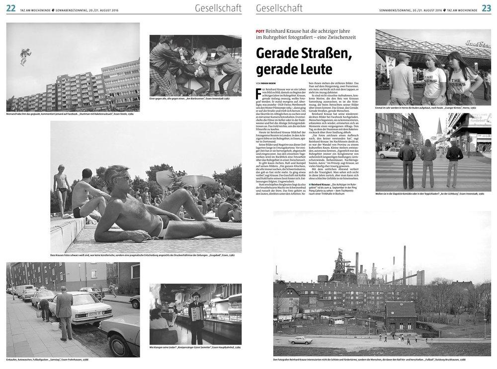 """Gerade Straßen, gerade Leute Reinhard Krause hat die achtziger Jahre im Ruhrgebiet fotografiert – eine Zwischenzeit Für Reinhard Krause war es ein Leben von Bild zu Bild, damals zu Beginn der achtziger Jahre im Ruhrgebiet. Krause, gerade Anfang zwanzig, wollte Fotograf werden. Er stand morgens auf, überlegte, was anstehe – DGB-Demo, Wettbewerb um den Mister Pilswampe 1984 –, dann ging er auf die Straße und trieb sich herum. Um das Skurrile im Alltäglichen zu suchen und es mit seiner Kamera festzuhalten. Er entwickelte die Filme im Keller oder in der Badewanne und bot die Abzüge Zeitungsredaktionen an. Das Geld reichte, um die nächste Filmrolle zu kaufen. Heute ist Reinhard Krause Bildchef der Fotoagentur Reuters in London. In den Achtzigern lebte er im Ruhrgebiet, in Essen, spä- ter in Dortmund. Seine Bilder und Negative aus dieser Zeit lagerten lange in Umzugskartons. Vor einiger Zeit hat er sie hervorgeholt, abgestaubt und eingescannt. Aus den einzelnen Tagewerken wird im Rückblick eine Fotoarbeit über das Ruhrgebiet in einer Zwischenzeit. Es gibt kaum Zechen, Ruß und Kumpel auf seinen Bildern. """"Die ganzen Klischees, die alle immer suchen, die Schwerindustrie, das gab es fast nicht mehr. Es ging etwas vorbei"""", sagt Krause. Das Geschäft mit Kohle und Stahl hatte seinen Zenit hinter sich. Entlassungen folgten, Ungewissheit. Statt erschöpften Bergleuten liegt da also der brustbehaarte Macho im Schwimmbad und runzelt die Stirn. Das Foto gehört zu den lauten, direkten unter den Arbeiten. Neben ihnen stehen die stilleren Bilder. Das Paar auf dem Bürgersteig, zwei Putzeimer, ein Auto, sie bückt sich mit dem Lappen, er steht im Anzug dahinter. Es sind nicht einzelne Aufnahmen, konkrete Motive, die den Reiz von Krauses Sammlung ausmachen, es ist die Stimmung, die beim Betrachten seiner Bilder über einen kommt. Das Graue, das Gerade. Gerade Straßen, gerade Menschen. Reinhard Krause hat seine wiederentdeckten Bilder bei Facebook hochgeladen. Menschen begannen, sie zu komment"""