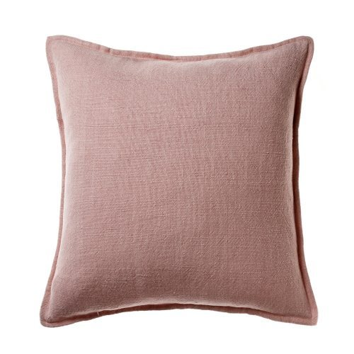 Vintage Washed Linen Cotton Soft Pink Cushion 50cm x 50cm - $69.95