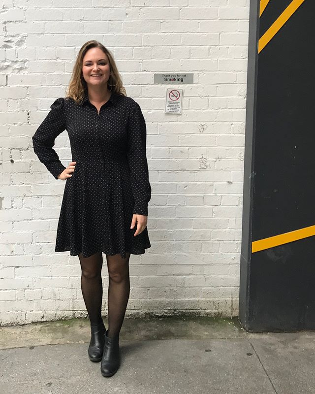 Just loitering around in an alleyway near work like a dickhead. Cute AF dress from @hm, I like the less opaque stockings, they feel a bit sexier 😮 and the vintage denim @jag_aus from an old boss of mine. Cool leaving gift right? #workwear #outfit #fashion #whatiwore #whatiworetoday #brisbane #brisbanefashion #alleyway #outfitoftheday #curvy #curvygirl #curvesaresexy #style #fashionstyle #stylist #clothes #fashionista