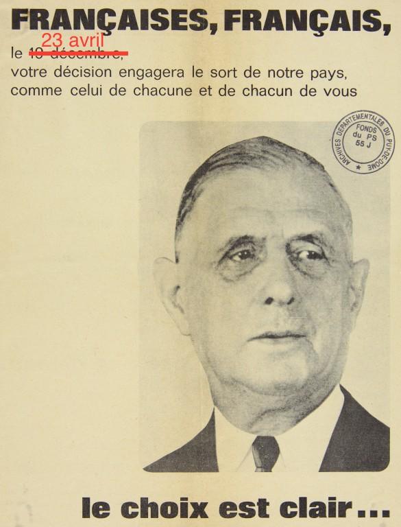 Intervención a un afiche de campaña presidencial de De Gaulle