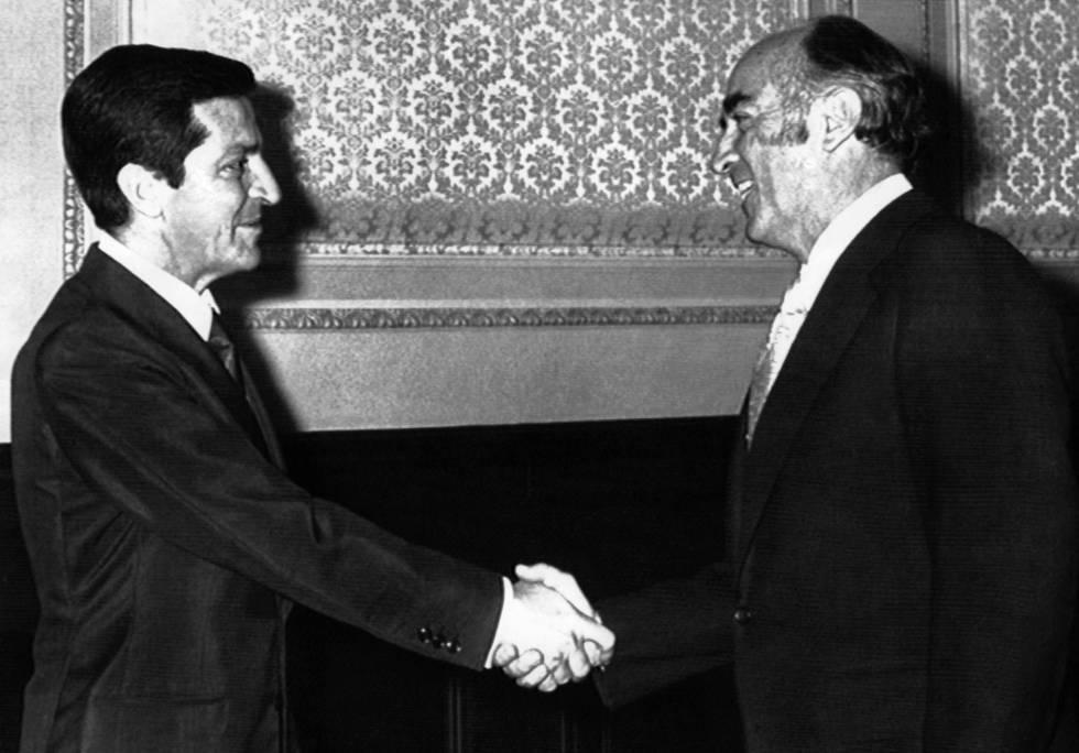 Los presidentes de España y México (Adolfo Suárez y José López Portillo)