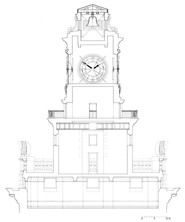Dibujo que muestra la instalación Clock Tower Gallery 1976.Del libro de Michael Asher, Writings 1973-1983 On Works 1969-1979, en colaboración con Benjamin H. D. Buchloh.